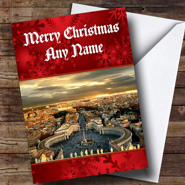 Rome St Peters Square Italy Personalised Christmas Card