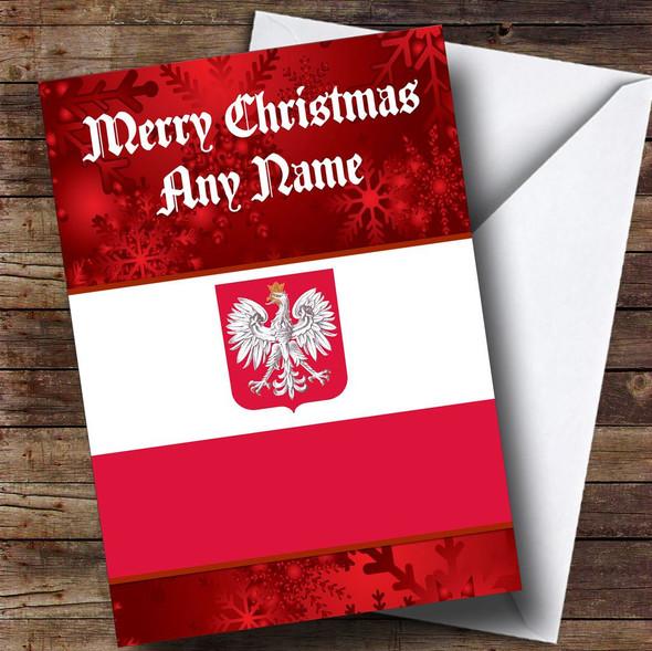Polish Flag / Poland Personalised Christmas Card