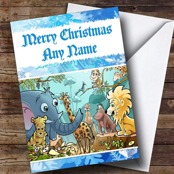 Jungle Animals Personalised Christmas Card