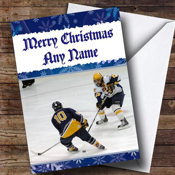 Ice Hockey Personalised Christmas Card