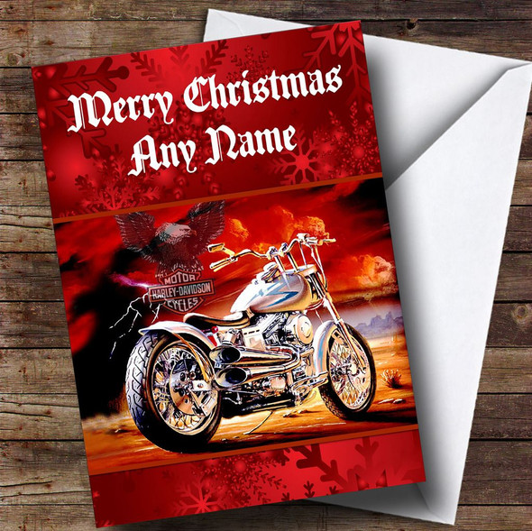 Red Harley Davidson Motorbike Personalised Christmas Card