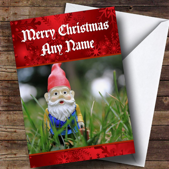 Garden Gnome Personalised Christmas Card