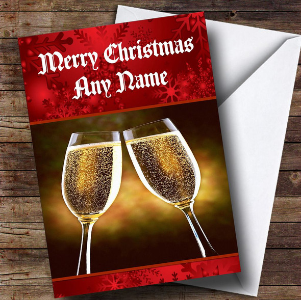 Champagne Personalised Christmas Card