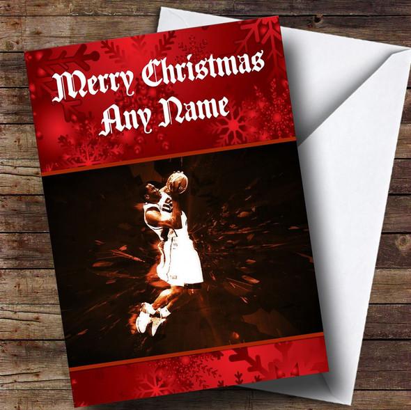 Basketball Slam Dunk Personalised Christmas Card