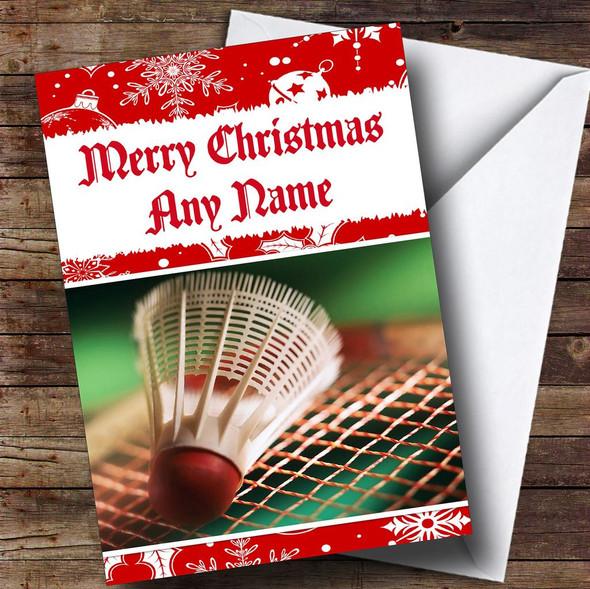 Badminton Personalised Christmas Card