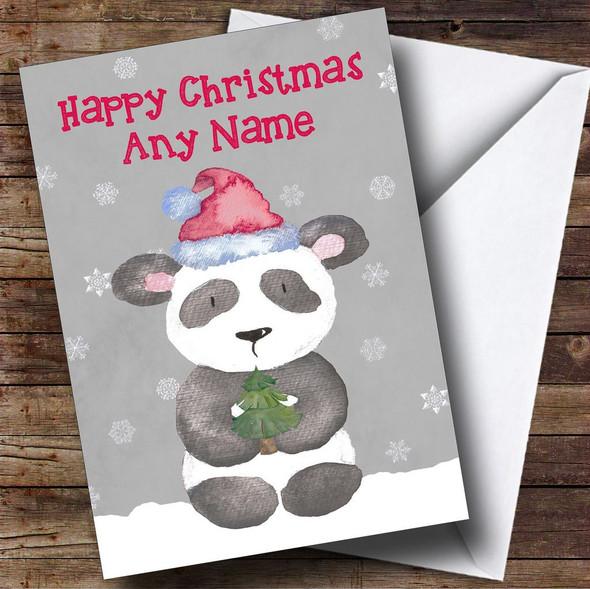 Watercolour Snowy Panda Personalised Christmas Card