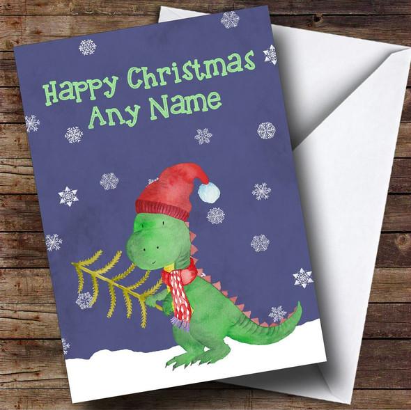 Watercolour Snowy Dinosaur Personalised Christmas Card