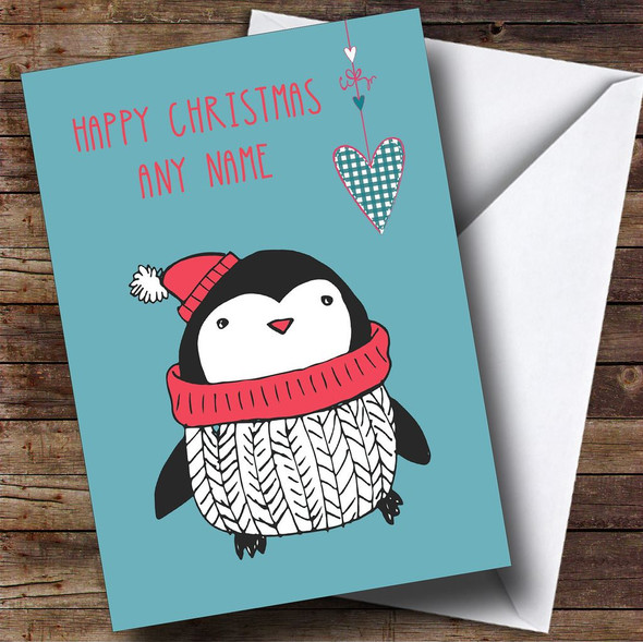 Penguin In A Scarf Personalised Christmas Card