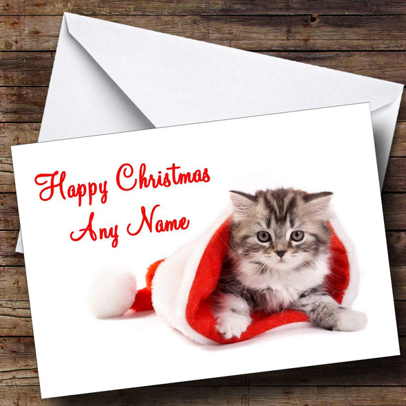 Fluffy Cat Christmas Card Personalised