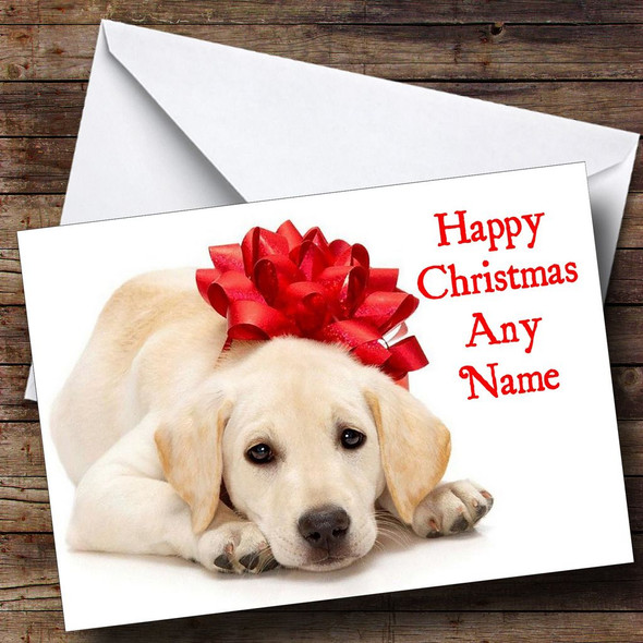 Dog With Xmas Bow Christmas Card Personalised