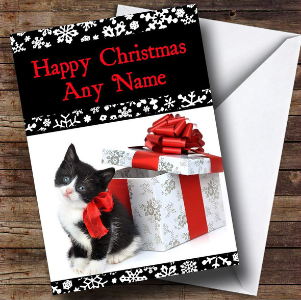 Black And White Kitten Christmas Card Personalised