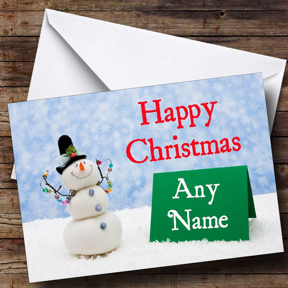 Snowman's Note Christmas Card Personalised