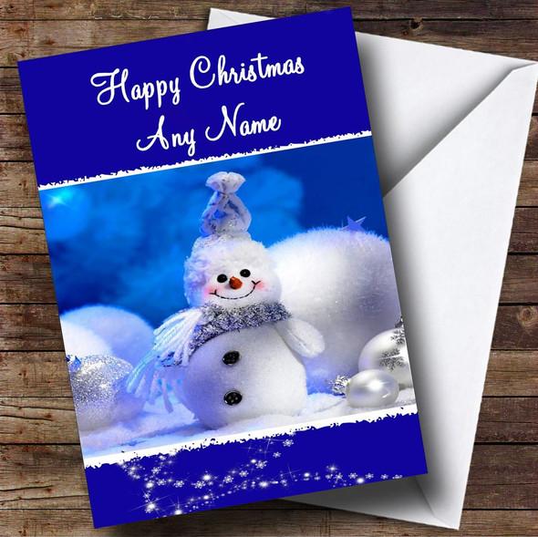 Snowman Cute Christmas Card Personalised