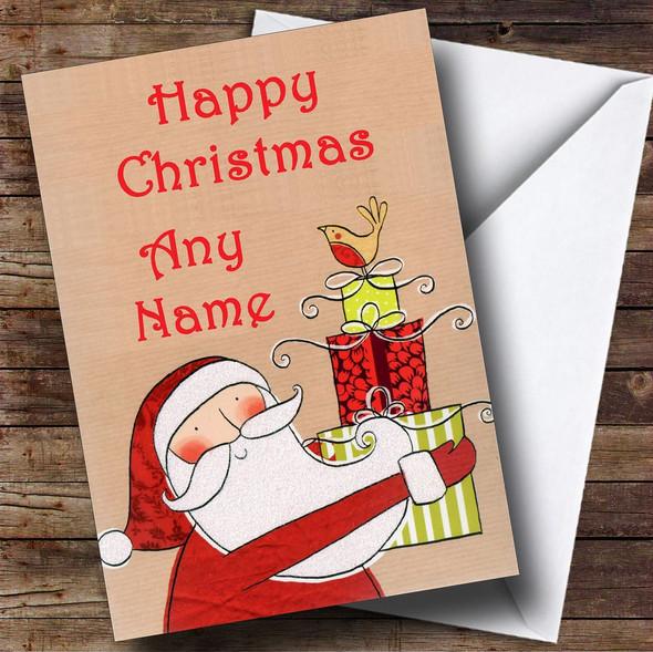 Santa Present Christmas Card Personalised