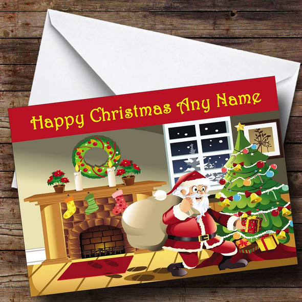 Santa Cartoon Christmas Card Personalised