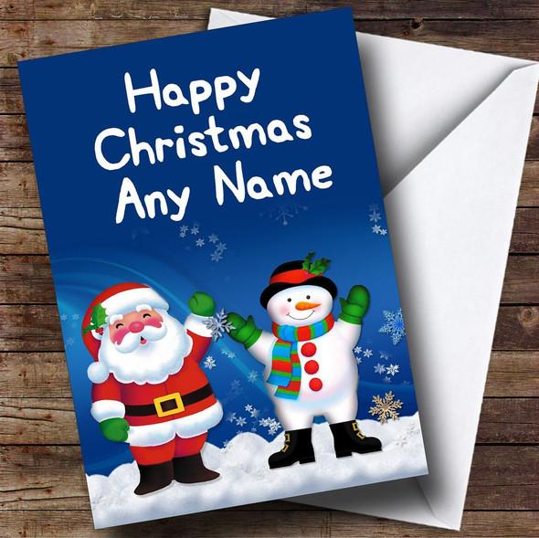 Santa And Snowman Christmas Card Personalised
