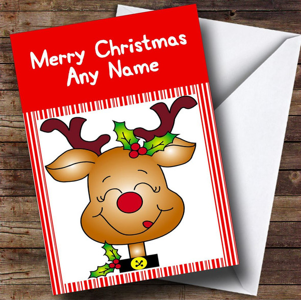 Reindeer Candy Stripes Christmas Card Personalised
