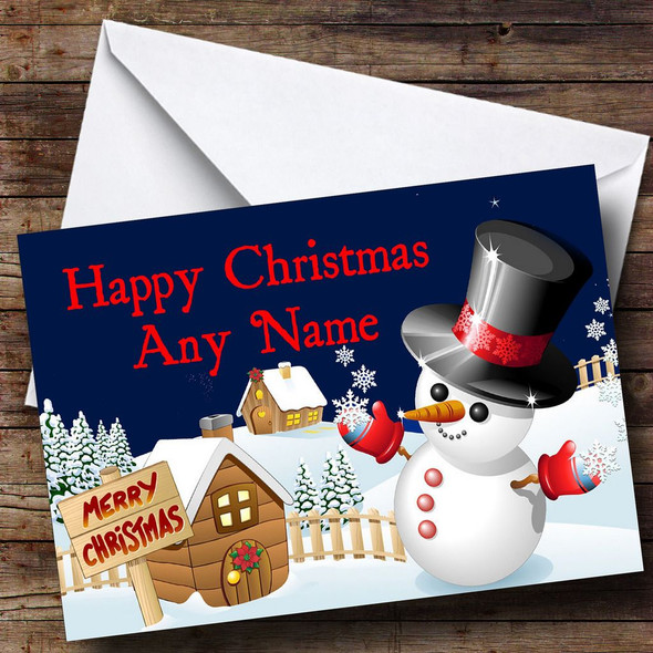Jolly Snowman Christmas Card Personalised