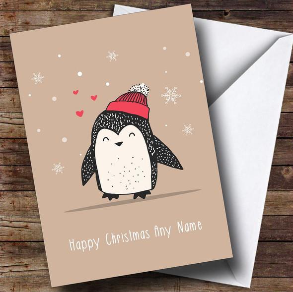 Cute Snowy Penguin Personalised Christmas Card
