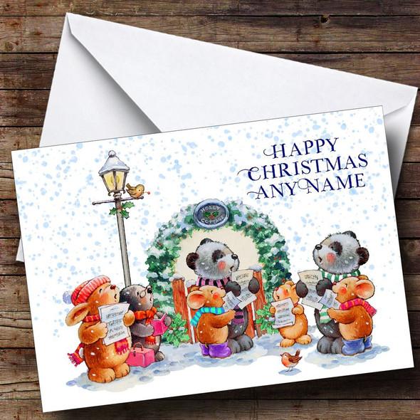 Cute Carol Singers Personalised Christmas Card