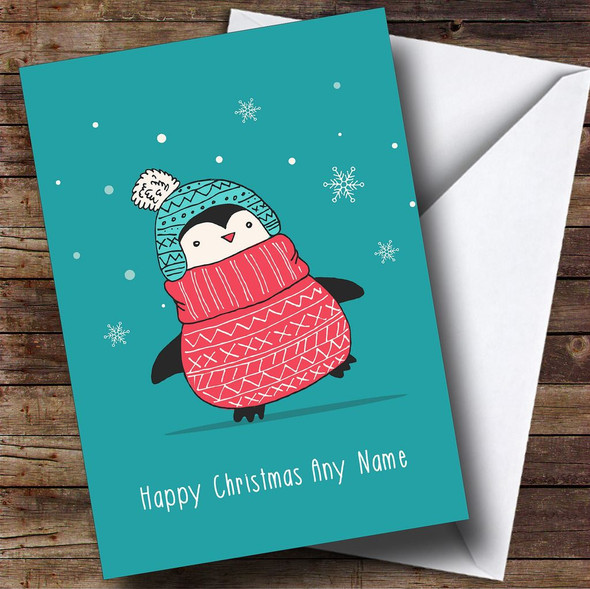 Christmas Jumper Penguin Personalised Christmas Card