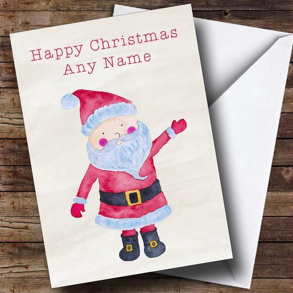Waving Watercolour Santa Personalised Christmas Card