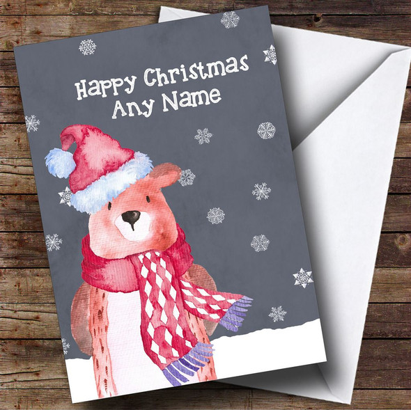 Watercolour Snowy Winter Bear Personalised Christmas Card