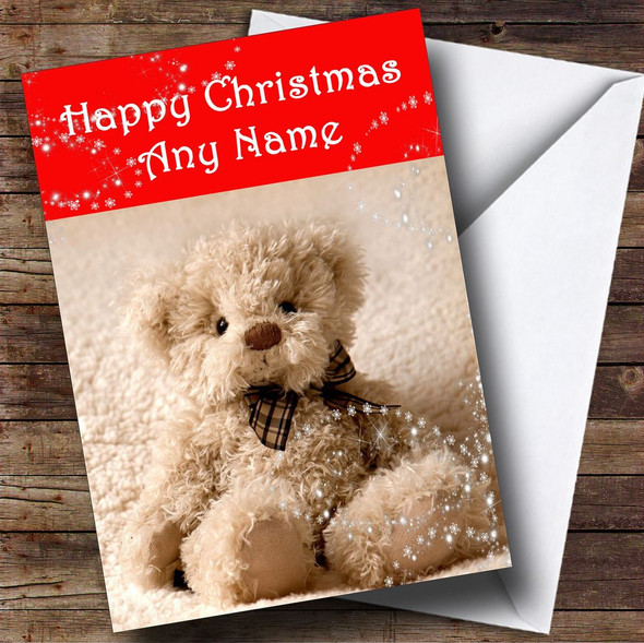 Beautiful Cuddly Teddy Bear Personalised Christmas Card