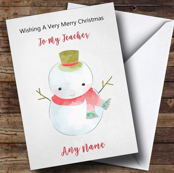 Teacher Doodle Watercolour Snowman Personalised Christmas Card