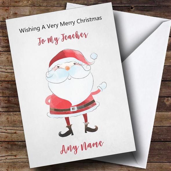 Teacher Doodle Watercolour Santa Personalised Christmas Card