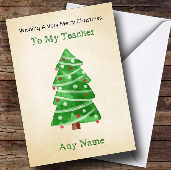 Teacher Cute Watercolour Xmas Tree Personalised Christmas Card