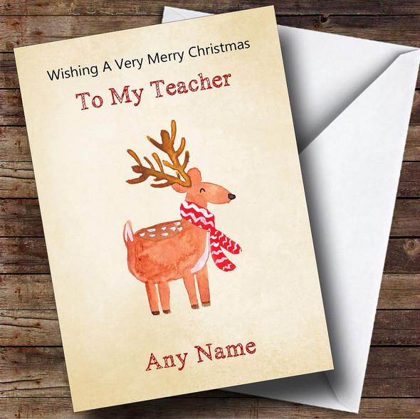 Teacher Cute Watercolour Reindeer Personalised Christmas Card