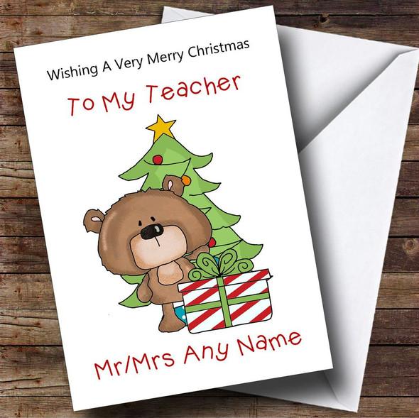 Teacher Cartoon With Present & Tree Personalised Christmas Card