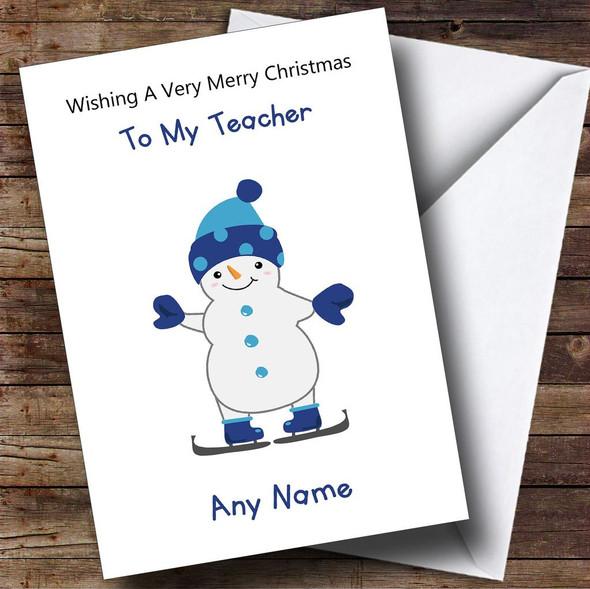 Teacher Cartoon Snowman Personalised Christmas Card