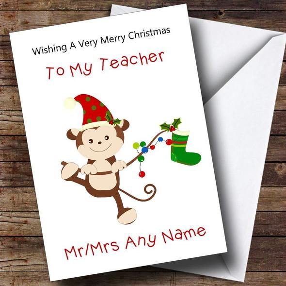 Teacher Cartoon Monkey Personalised Christmas Card