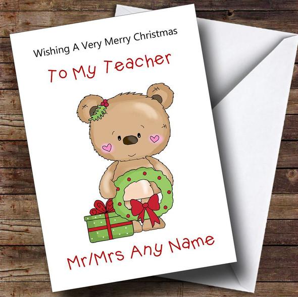 Teacher Cartoon Bear With Wreath Personalised Christmas Card