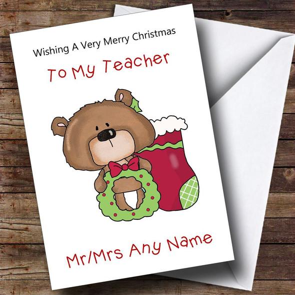 Teacher Cartoon Bear With Stocking Personalised Christmas Card