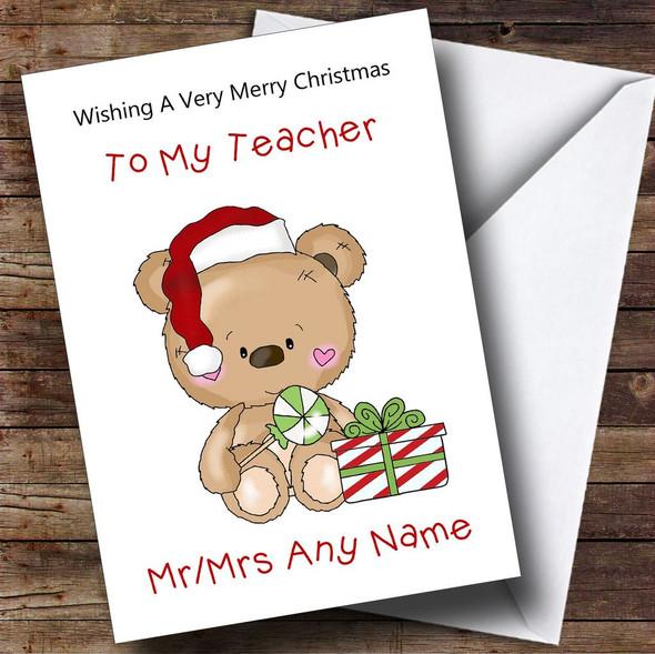 Teacher Cartoon Bear With Present Personalised Christmas Card