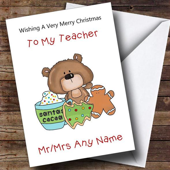 Teacher Cartoon Bear With Gingerbread Man Personalised Christmas Card