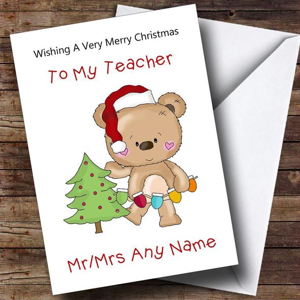 Teacher Cartoon Bear Decorating The Tree Personalised Christmas Card