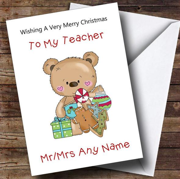 Teacher Cartoon Bear Christmas Ornaments Personalised Christmas Card