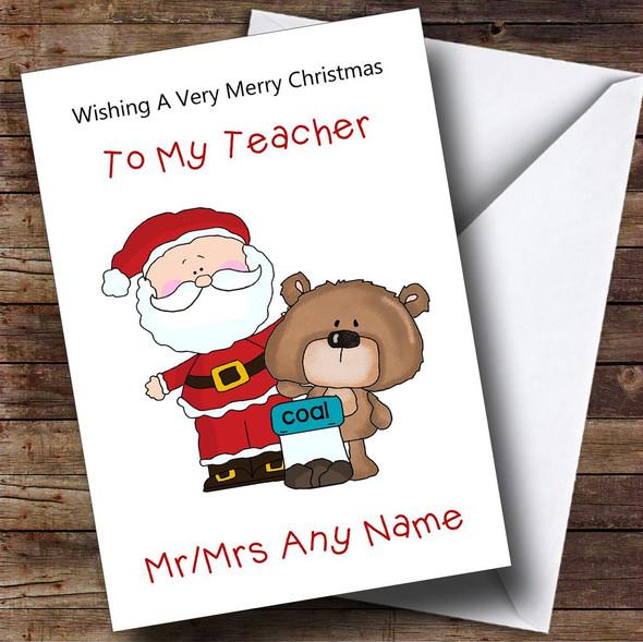 Teacher Cartoon Bear & Santa Personalised Christmas Card
