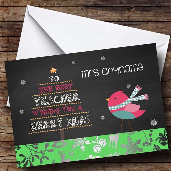 Robin Best Teacher Personalised Christmas Card