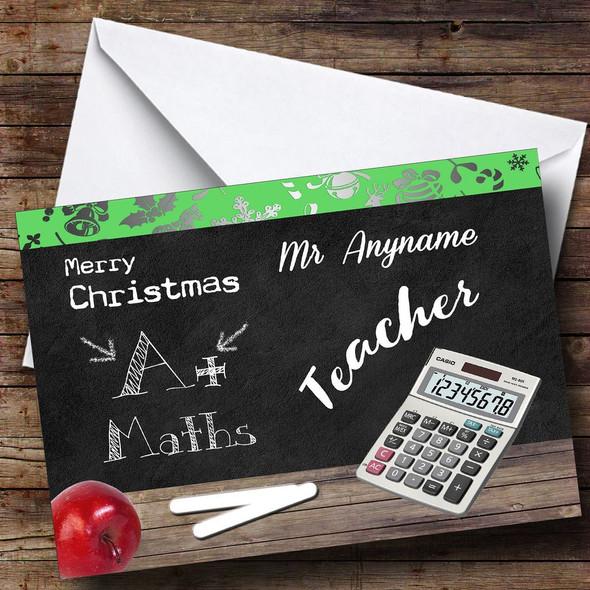 Maths Teacher Personalised Christmas Card