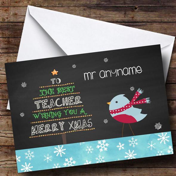 Blue Robin Best Teacher Personalised Christmas Card
