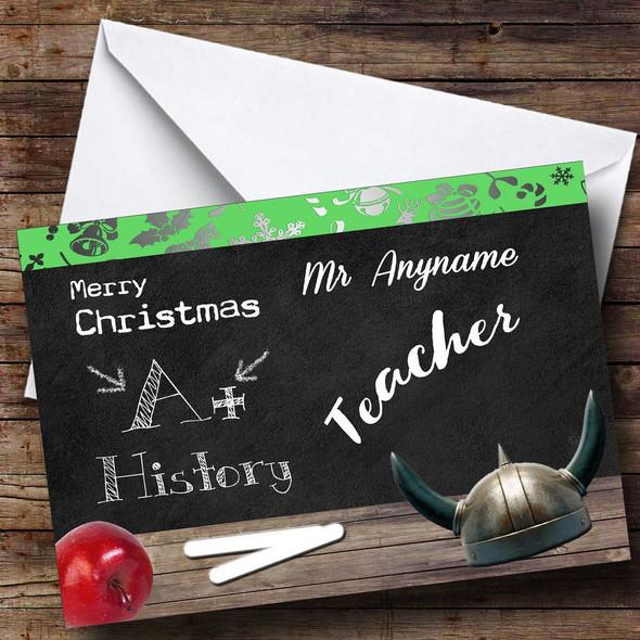 History Teacher Personalised Christmas Card