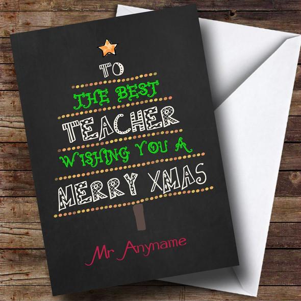 Best Teacher Xmas Tree Personalised Christmas Card