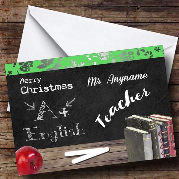 English Teacher Personalised Christmas Card