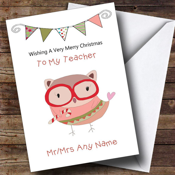 Doodle Owl Teacher Personalised Christmas Card
