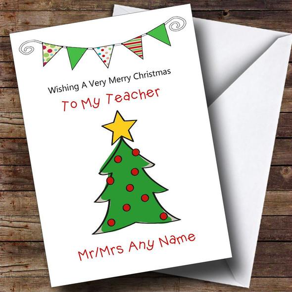 Doodle Christmas Tree Teacher Personalised Christmas Card
